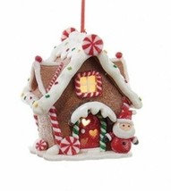 KURT ADLER B/O LIGHTED LED w/TIMER SANTA GINGERBREAD HOUSE CHRISTMAS ORN... - $12.88