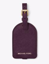 Michael Kors Nwt Ciruela Genuino Saffiano Cuero Equipaje Etiqueta Hebill... - $21.76