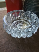 Vintage European Cut Glass Crystal round ashtray, Vintage crystal - $45.99