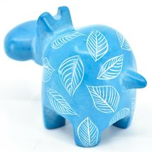 Vaneal Group Hand Crafted Carved Soapstone Light Blue Hippopotamus Hippo Figure image 3