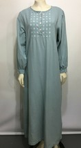 L.L. Bean Womens M Blue Gray Brushed Cotton Long Nightgown Roomy - $47.53