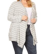 Plus Size Striped Cardigan, Plus Size Cardigans, Gray Striped Cardigan, Womens