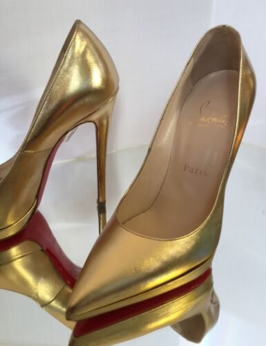 NEW Christian Louboutin Pigalle 120 Metallic Pointy Toe Pumps (Size 37)