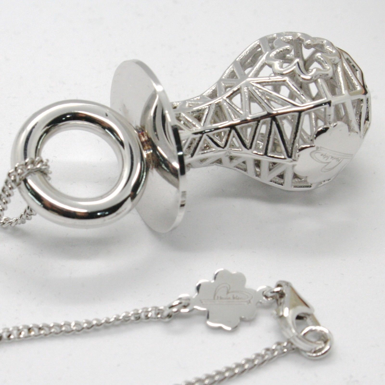 Silver 925 Necklace with Hanging Charm Pacifier Perforated & Knit by Mary Jane