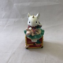 1992 Lustre Fame Christmas Ornament Mouse Sewing Trunk Baby Needle - $24.18