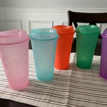 Starbucks Set Of 6 Hot Reusable Cups Lids Clear-colored Set Summer 2021 - $29.69
