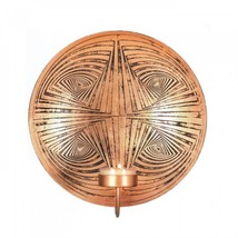 Geometric Circles Round Copper Finish Plate Candle Wall Sconce Holder NE... - $19.24