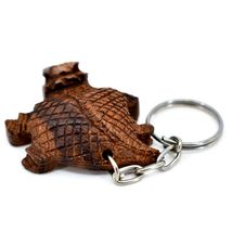 Hand Carved Ironwood Wood Folk Art Country Western 3D Horned Toad Keychain image 4