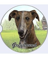Greyhound Car Coaster Absorbent Keep Cup Holder Dry Stoneware New Dogs Pets - $10.88