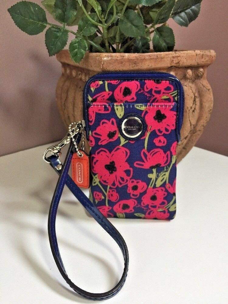 Coach Poppy Universal Bag Wallet Sateen Navy Blue Floral  63861 W12