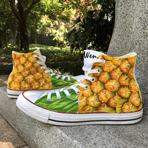 Fruit Pineapple Design Hand Painted Shoes Canvas Converse All Star Chuck Sneaker - $159.00
