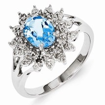 STERLING SILVER 1.3CT NATURAL SWISS BLUE TOPAZ & DIAMOND ACCENT RING - S... - $54.45