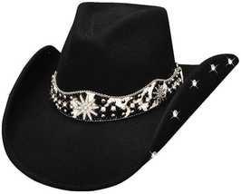 Bullhide Euphoria Fashion Wool Felt Cowgirl Rhinestones Fancy Underbrim Black - £63.20 GBP