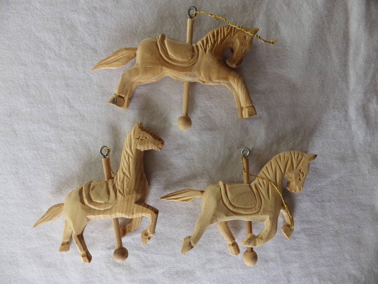 3 Wooden Carousel Horse Christmas Ornaments - Horses