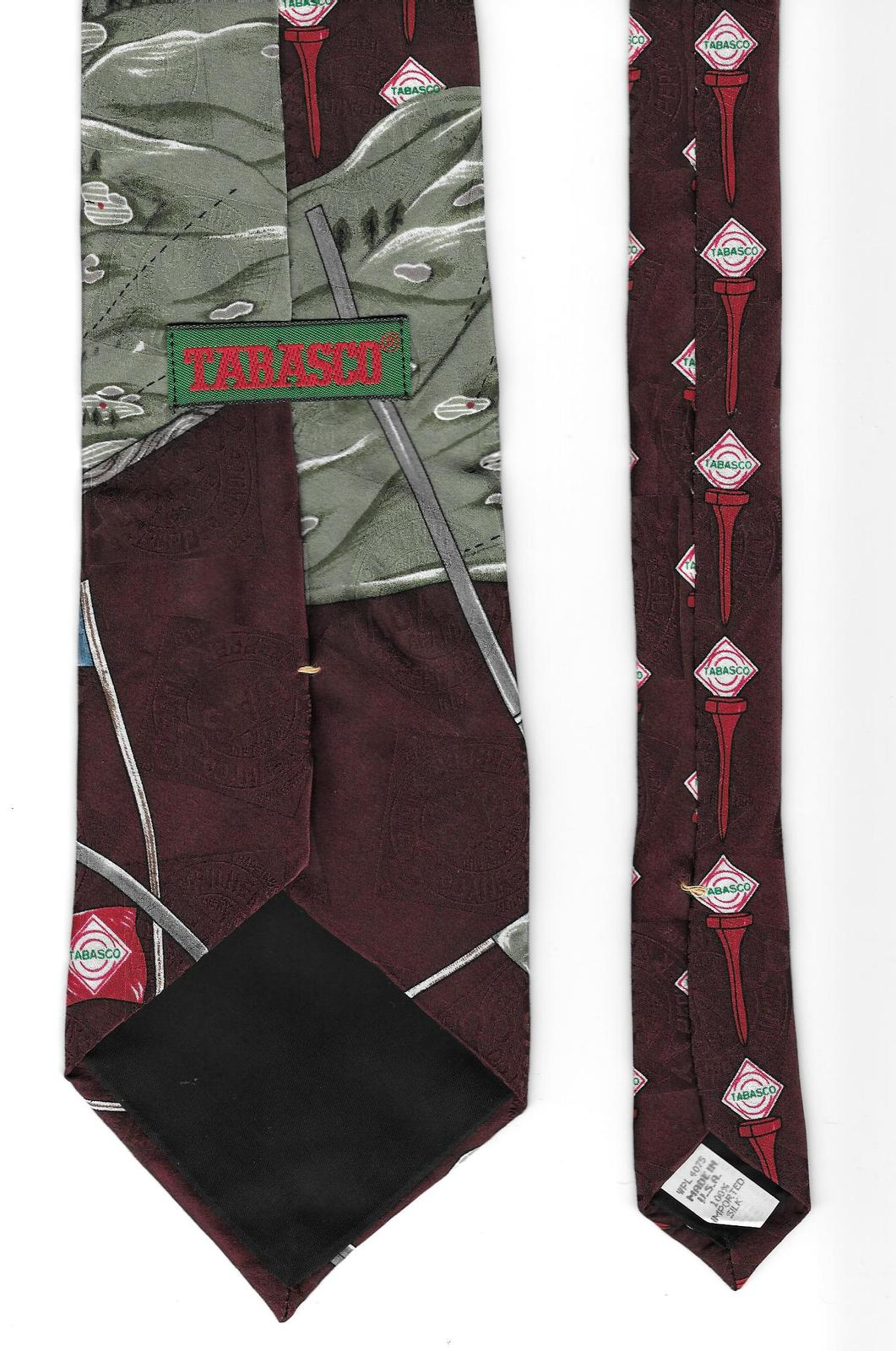 Tabasco Neck Tie Golf Clubs Pepper Sauce brown silk logo novelty necktie N3