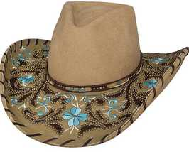 Bullhide Always On My Mind Wool Cowgirl Hat Whipstitched Fancy Floral Brim Camel - £87.23 GBP
