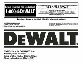 """Dewalt 12"""" Miter Saw Instruction Manual Model #DW715 - $10.88"""