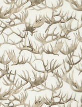 Antlers Metallic Cream Timeless Treasures 100% cotton fabric by the yard - $14.69