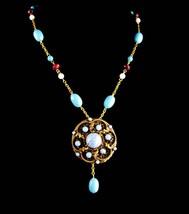 Vintage Austria brooch Necklace set - Turquoise color Bohemian style - h... - $125.00