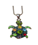 Crystal Turtle Necklace with a Black Chain and Lobster Claw Clasp - $10.39