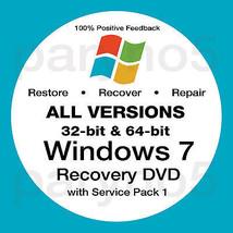 WINDOWS 7 ALL VERSIONS 32 & 64 Recovery Install Reinstall Restore DVD Di... - $7.99