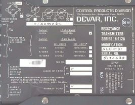 CONTROL PRODUCTS DEVAR INC. SERIES 18-112A RESISTANCE TRANSMITTER MOD. A2C-M31 image 3