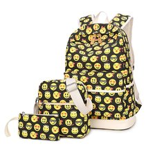 3Pcs Emoji Backpack Casual Lightweight Canvas School Backpacks for Teen Girls - $30.99