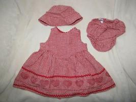 Vintage 1999 Baby Gap Red Gingham Heart Valentines Day Jumper Dress Hat 3-6 - $79.19