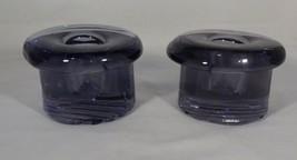 Bohemian Glass Pair Single Light Candle Holders Purple Heavy Original St... - $6.44