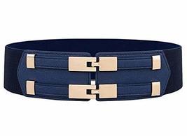 Double Buckle Women Girls Corset Belt Obi Waist Belt Waistband, Navy Blue