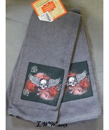 2 Skull Crossbones with Wings and Roses Kitchen Dish Towels 15 x 25 inches  - $5.99