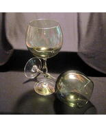 Crystal Balloon Wine Glass Stemware Olive Green... - $14.99