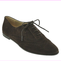 Isaac Mizrahi 'Fiona' Dark Brown Suede Pinhole Lace Up Wingtip Oxford Flats 7W - $38.00 CAD