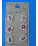 Trena's Trinkets Christmas Buttons 6 CT Candy Canes Ceramic - $4.95
