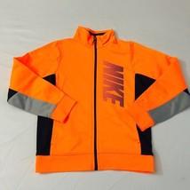 Nike Boys Sweatshirt Jacket Full Zip Long Sleeve Orange Black Sz 5 - $18.33
