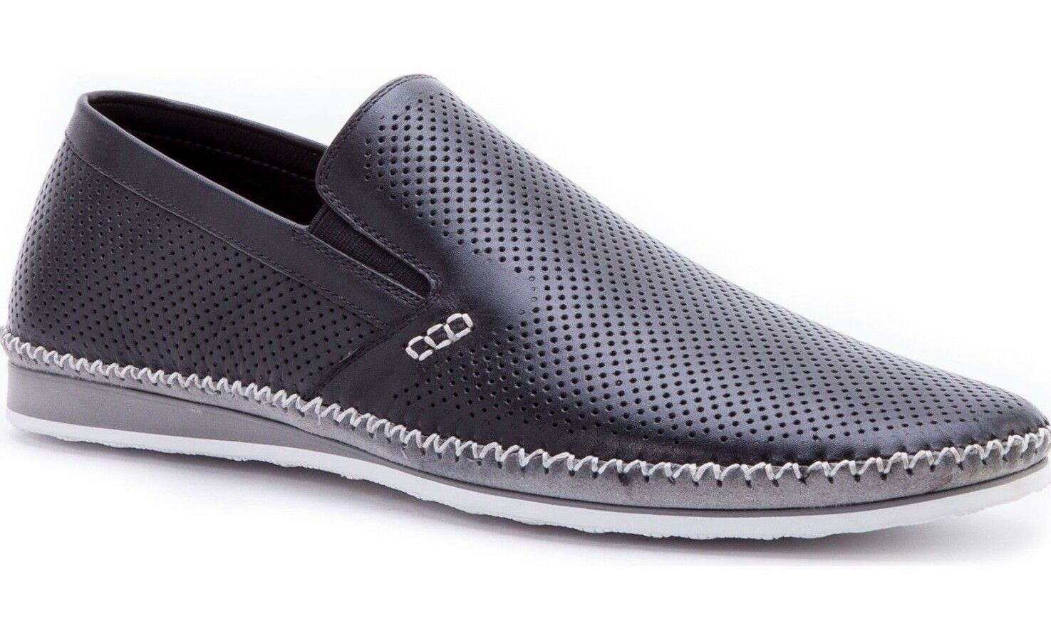 NEW ZANZARA Mens MERZ Slip-On Premium Perforated Leather Shoes