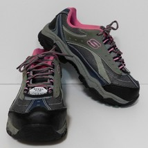 Skechers Work Doyline Steel Toe Sneakers Womens 6.5 M No Slip Gray Pink - $28.01