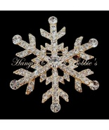 Snowflake Pin Brooch Clear Crystal Goldtone Metal Winter Style 4815 - $29.99