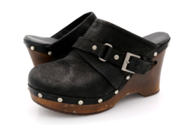 UGG Womens 8 Black Leather Natalee Studded Mules Clogs Shoes EUR 39 - $34.99