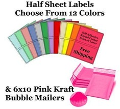 6x10 Pink Kraft Poly Bubble Mailers + Half Sheet Self Adhesive Shipping ... - $1.99+