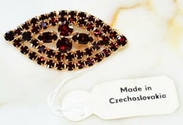 ESTATE VINTAGE RUBY RED CZECH GLASS BROOCH NEW W/ TAG NOS ! - $9.89