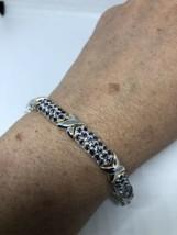 Art Deco Vintage Mosaic Genuine Blue Sapphire 925 Sterling Silver Bracelet - $217.80