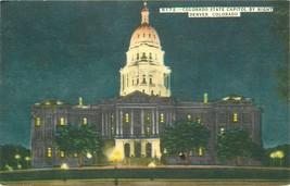Linen Postcard H188 Colorado State Capitol by Night Denver O. Roach 1957  - $7.50