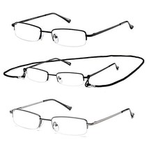 HILBALM Reading Glasses 3 Pairs Quality Readers Spring Hinge Glasses for Reading