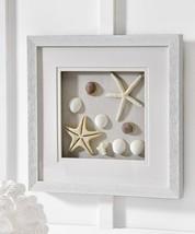 "Nautical White Frame Shadow Box w Shells and Starfish Wall Decor 16"" x 16"""