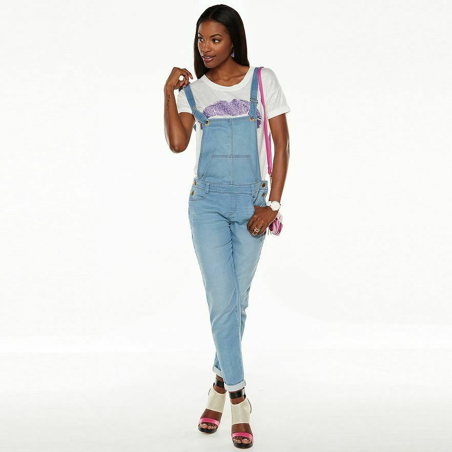 Primary image for Juicy Couture Denim Light Blue Jean Overalls Jumpsuit w/ pockets US 14