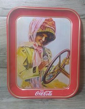 Vintage Coca-Cola Tray Girl Driving The Car Drinking Coke - $29.70