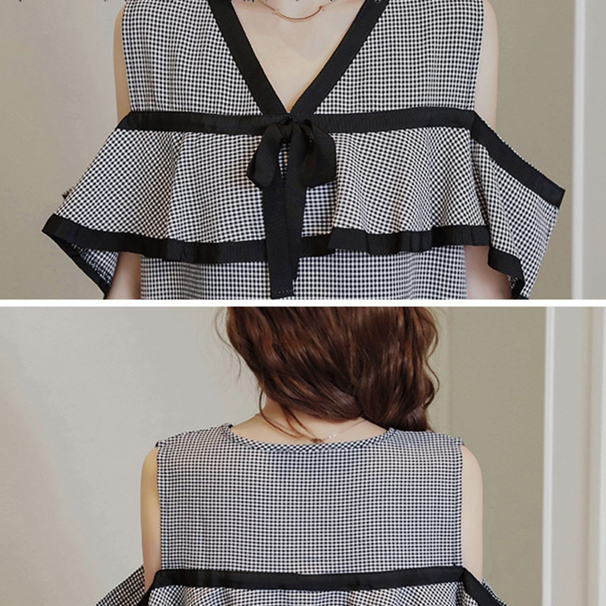 Maternity Dress Off The Shoulder Plaid Ruffles V-Neck Straight Dress image 5