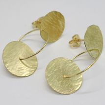 18K YELLOW GOLD FINELY WORKED AND HAMMERED PENDANT DOUBLE DISC & CIRCLE EARRINGS image 3