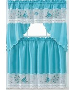 "3pc. Embroidery Curtains Set:2 Tiers(30""x36"")& Swag(60""x36"")BLUE PEACOCK... - $21.77"